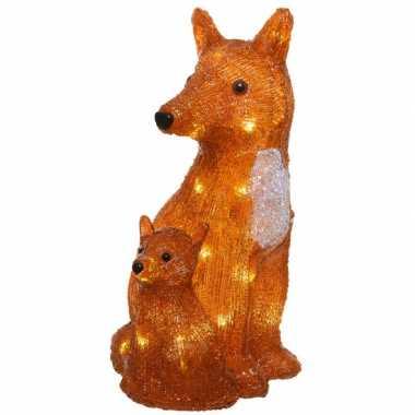 1x kerstverlichting led figuren voor buiten vos met jong 34 cm