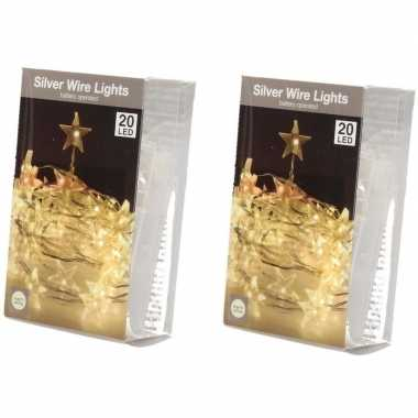 2x ster verlichting zilverdraad op batterij warm wit 20 lampjes