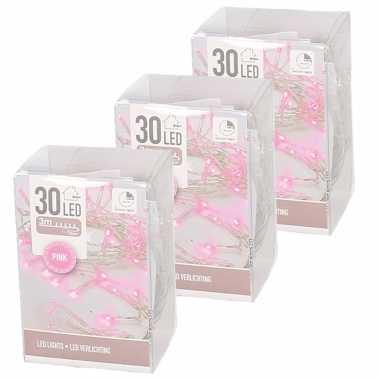 3x clusterverlichting op batterijen roze 3 meter 30 lampjes