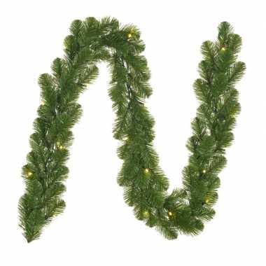 Dennenslinger/dennen guirlande groen met kerstverlichting 20 x 180 cm