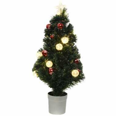 Fiber optic kerstboom/kunst kerstboom met verlichting 90 cm