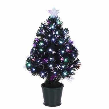 Fiber optic kerstboom/kunst kerstboom met verlichting en piek ster 60 cm