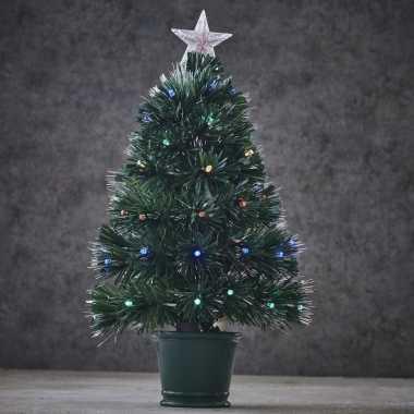 Fibre optic kunst kerstboom met verlichting 60 cm