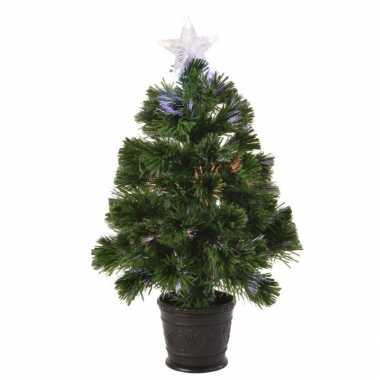 Glasweefsel boom/kunst kerstboom met verlichting en piek ster 60 cm