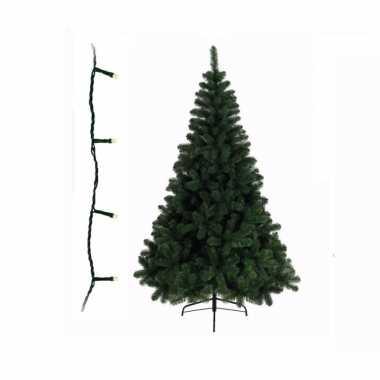 Groene kunst kerstboom 150 cm inclusief gekleurde kerstverlichting