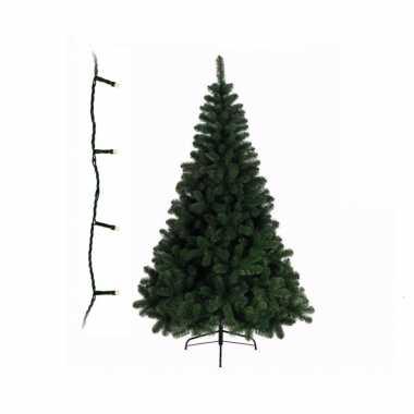 Groene kunst kerstboom 150 cm inclusief helder witte kerstverlichting