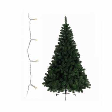 Groene kunst kerstboom 210 cm inclusief warm witte kerstverlichting
