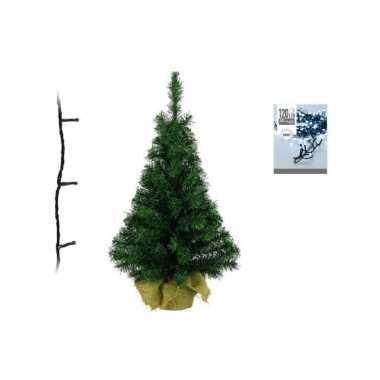 Groene kunst kerstboom 90 cm inclusief helder witte kerstverlichting