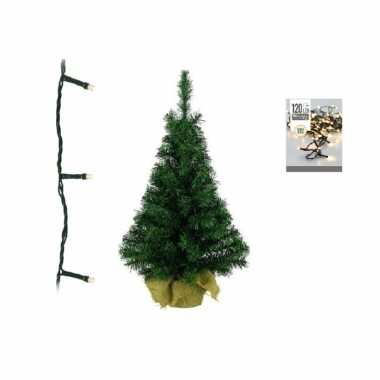Groene kunst kerstboom 90 cm inclusief warm witte kerstverlichting