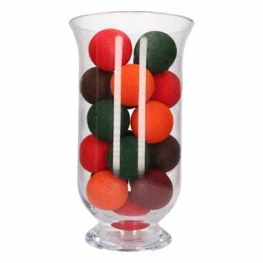 Kerstdecoratie herfstkleurige verlichting in vaas