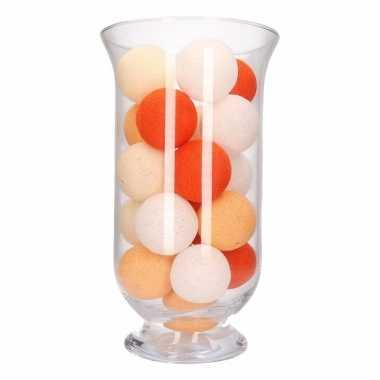 Kerstdecoratie oranje verlichting in vaas