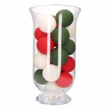 Kerstdecoratie rood, wit en groene verlichting in vaas