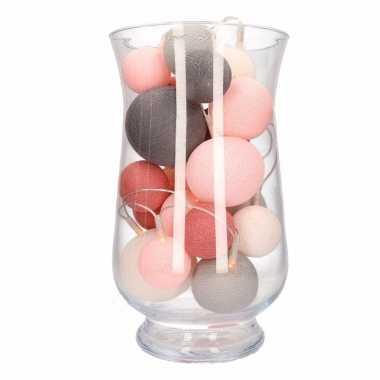 Kerstdecoratie roze grijze verlichting in vaas