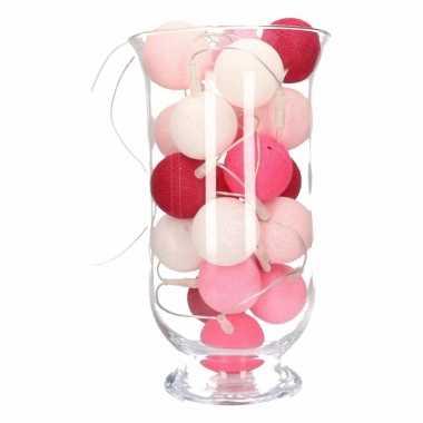 Kerstdecoratie roze verlichting in vaas 10096042