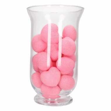 Kerstdecoratie roze verlichting in vaas