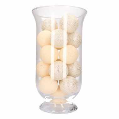 Kerstdecoratie witte zilveren verlichting in vaas
