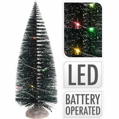 Kerstdorp onderdelen 1x kerstbomen met gekleurde led verlichting 22 cm