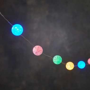 Kerstverlichting lichtsnoer met 10 gekleurde lampjes op batterij 1 meter