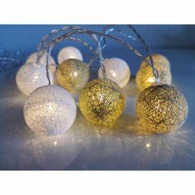 Kerstverlichting lichtsnoer met katoenen balletjes wit/goud 300 cm