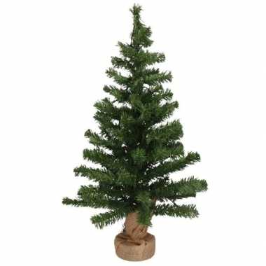 Kleine kerstboom in jute zak inclusief verlichting 75 cm