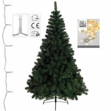 Kunst kerstboom/kunstboom 180 cm inclusief warm witte verlichting
