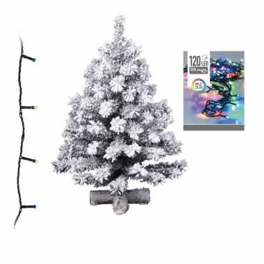 Kunst kerstboom met sneeuw 90 cm inclusief gekleurde kerstverlichting