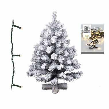 Kunst kerstboom met sneeuw 90 cm inclusief warm witte kerstverlichting