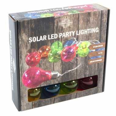 Solar kerstverlichting/tuinverlichting met 10 neon gekleurde lampjes