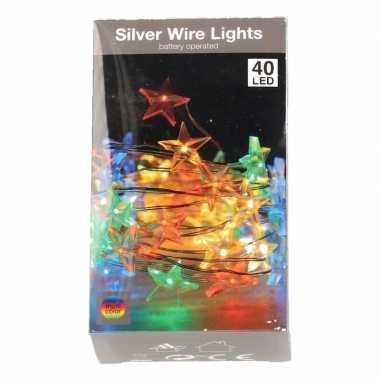 Sterren verlichting zilverdraad op batterij gekleurd 50 lampjes