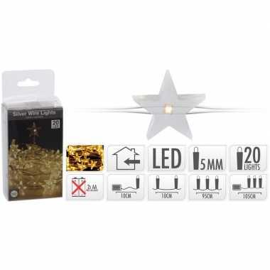 Sterren verlichting zilverdraad op batterij warm wit 20 lampjes