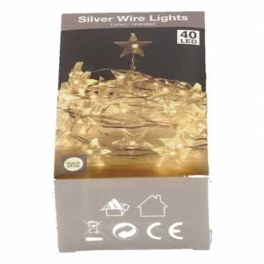 Sterren verlichting zilverdraad op batterij warm wit 40 lampjes