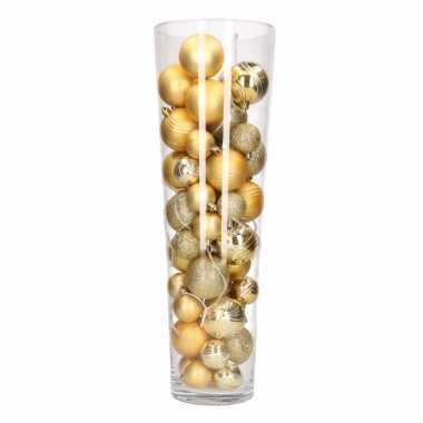 Verlichte Vaas Met Gouden Kerstballen Kerstverlichtingen Nl