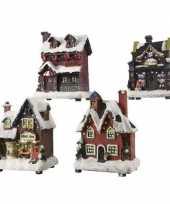 Kerstdorp kersthuisje bakkerij 12 cm met led verlichting